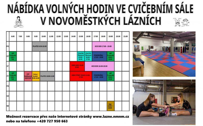 Nabídka volných hodin do cvičícího sálu